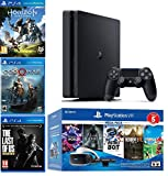 2019 Playstation 4 PS4 Slim 1TB Console + Playstation VR Headset + Camera + 8 Games Bundle (God of War; Greatness Awaits Astro Bot Rescue Mission; Everybody's Golf VR; Playstation VR Worlds etc)