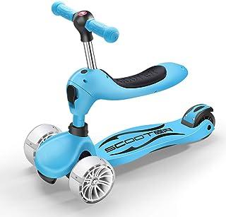 Patinetes Scooters Azules para niños con Asiento Ajustable, Kick Scooter Ligero con Ruedas para iluminar