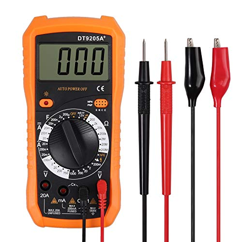 Neoteck Digital Multimeter with 2 Test Lead Set, Amp Volt Ohm Voltage Tester Meter with Diode Continuity Capacitance and Fire Wire Test
