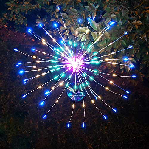 Outdoor Solar Garden Decorative Lights DIY Flowers Fireworks Trees for Walkway Patio Lawn Backyard, Party Solar Firework Stake Light Waterproof Tall for Plant Decor