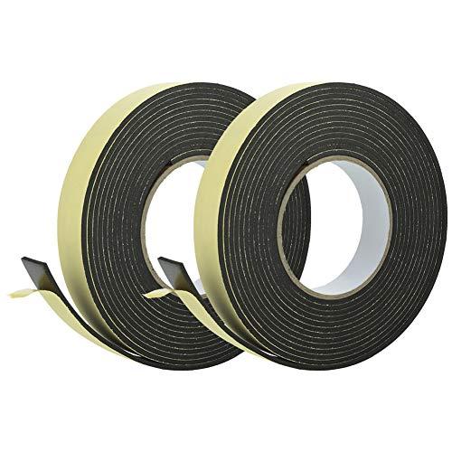 upain Moosgummi Selbstklebend 25mm(B) x 3mm(D) Dichtungsband Selbstklebend Foam Tape für Fenster Tür 10m (5m x 2 Rollen)