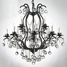 Chandelier Made with Swarovski Crystal! Wrought Iron Crystal Chandelier Chandeliers Lighting Dressed W/Crystal Balls