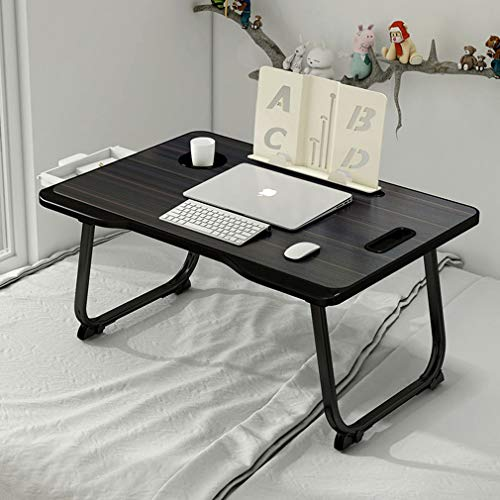 Bueuwe Adjustable Laptop Bed Table Lap Desk, Portable Bed Tray Table with Storage Drawer, Bookshelf,Tablet & Phone Slots for Sofa Couch Bed Desk,Black
