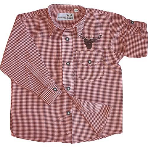 German Wear German Wear Kinder Trachtenhemd Trachtenlederhosen mit Hirsch Stickerei karo, 104/110 Rot