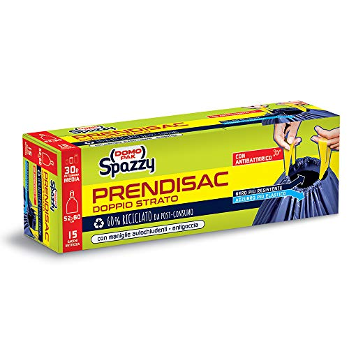Domopak Spazzy Sacchi Nettezza Prendisac con Maniglie Autochiudenti - Casalingo 30lt - Blu e Nero - 1 confezione da 15 pezzi