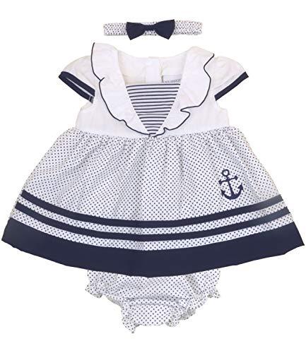 Babyprem Baby Matrosenkleid 3-teiliges Set Dunkelblau 56-62cm 0-3 Monate