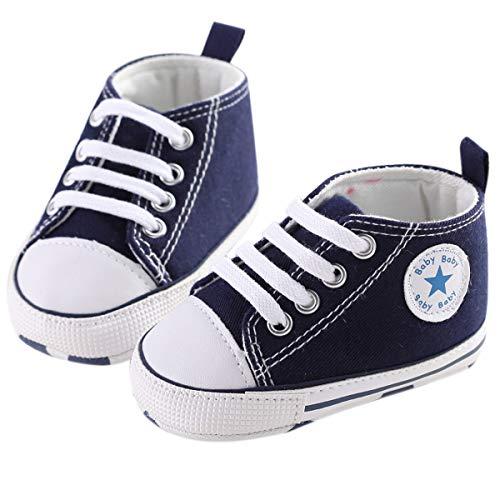 Chennie 0~12M Säuglingsneugeborenes Baby-Mädchen-Segeltuch-Stern-hohe Spitzen-Turnschuh-Denim-Schuhe (Color : Dark Blue, Size : 0-6 Months)