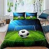 Tomifine Juego de ropa de cama con estampado 3D, 135 x 200 cm y funda de almohada de 80 x 80 cm, 2/3 piezas, microfibra, diseño de balón de fútbol y baloncesto (1,135 x 200 cm x 1 + 80 x 80 cm x 1)