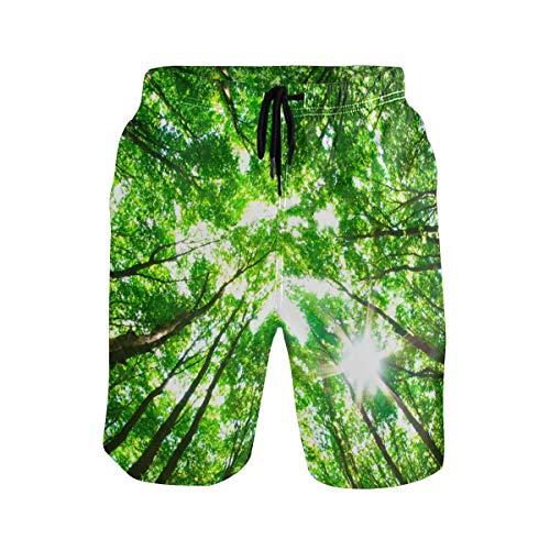 LUPINZ Green Forest Picture Short de Bain pour Homme avec Poches Coupe Slim - - L