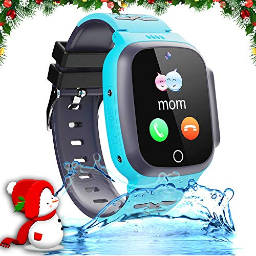 Kids Waterproof Smartwatch Phone Girls Boys with GPS Tracker Two Way Call SOS 1.44' HD Touch Screen Camera Voice Chat Game Flashlight Alarm Clock Cellphone Digital Wrist Gizmo Watch Learning Toys Gift