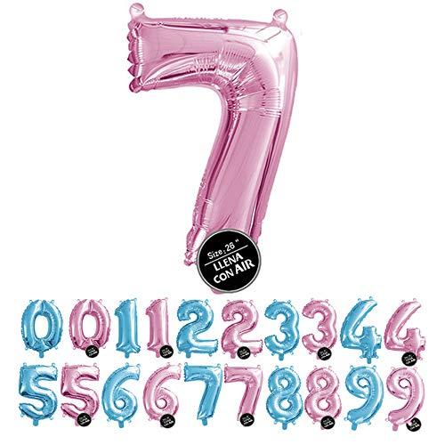 Haioo Globo Número de Cumpleaños en Metalizado Ideal para Fiesta de cumpleaños y Aniversarios Hinchable y Deshinchable (Rosa 7)