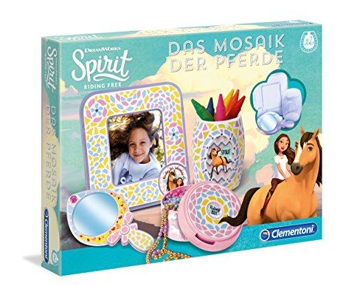 Clementoni 59105 Spirit Das Mosaik der Pferde, Kreativset mit Mosaiksteinen, zum Verzieren von Bilderrahmen & Schmuckdosen, Mosaikkunst für Kinder ab 7 Jahren, ideal zu Weihnachten