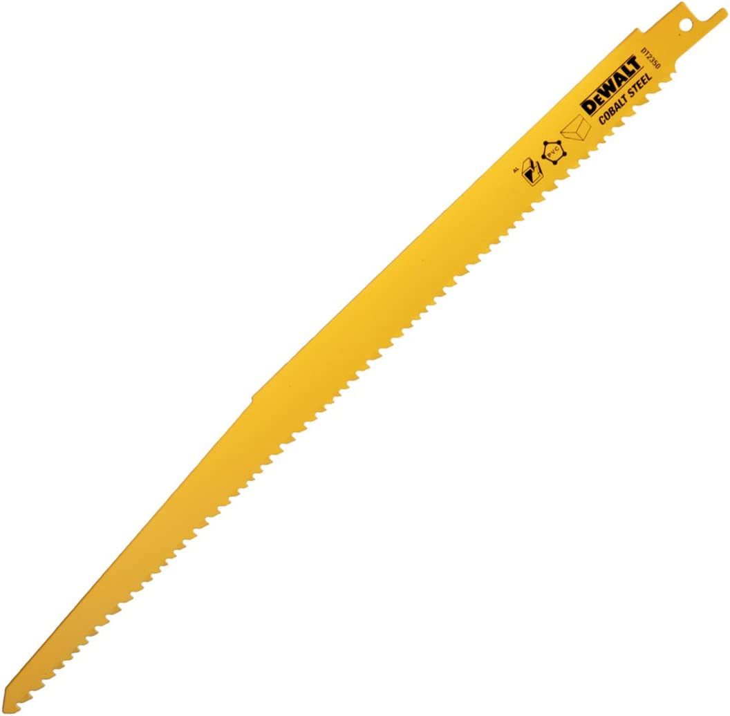 Dewalt DT2350-QZ DT2350-QZ-Hoja de sierra sable bi-metal, longitud: 305mm, paso de diente: 3.6-5.1mm, para cortes rápidos en madera con clavos y plásticos duros, 0 W, 0 V, Negro Y Amarillo