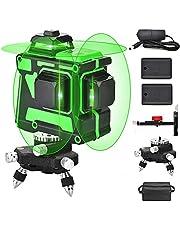 3X360 Zelfnivellerende laserlijn, 3D-kruislijn 12 lijnen Groene straal 131Ft 2 Verticale 1 horizontale lijn met 1 basis, drie vlakken, batterijuitlijning Laser-nivelleertool voor binnen- en buitenbouw