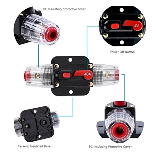 STETION Car Audio 50 Amp Resettable Fuse Circuit Breaker Car Protect for Audio System Fuse 12-24V DC for Car Audio Amps Overload Protection Fuse (50A)