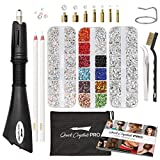 Hotfix Applicator, Quick Crystals Pro, Bedazzler Kit with Rhinestones, DIY Wand Setter Tool Kit with 7 Different Tip Sizes, Tweezers, Cleaning Brush, User Manual, and 4400 Rhinestones.
