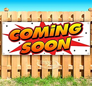 Coming Soon 13 oz Heavy Duty Vinyl Banner Sign with Metal Grommets, New, Store, Advertising, Flag, (Many Sizes Available)