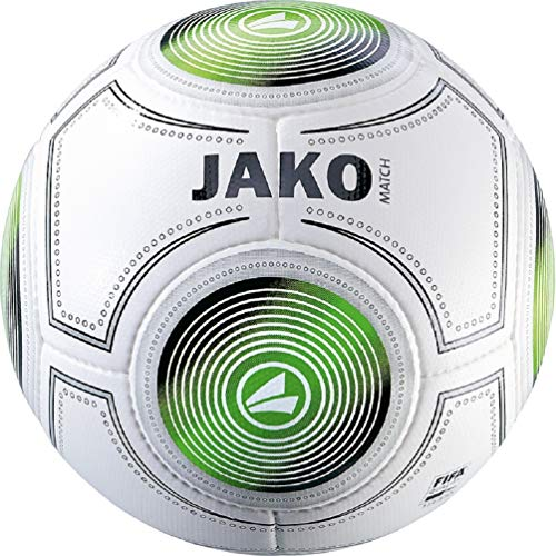 JAKO Spielball Match Ball, weiß/Schwarz/Grün, 5