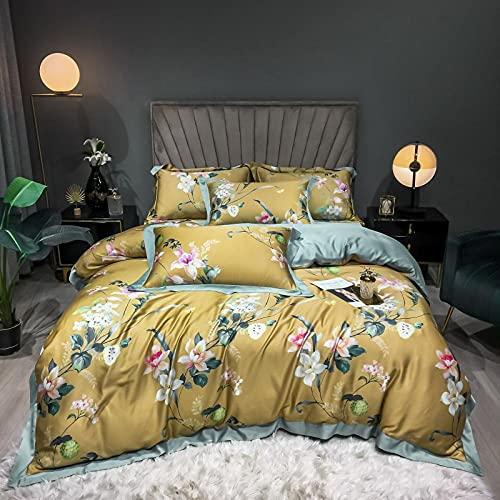 Exlcellexngce Juego De Funda NóRdica Negro,Luxus Lila 100S Tencel Seide Blumen Druck Super Weiche Atmungsaktive Bettwäsche Set Doppel Bettbezug-Set Bett Blatt Kissen-20_1,8 m de Cama (4pcs)