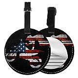 Etichette per Bagagli, Viaggio Bagagli Tag in Pelle PU Con Copertina Posteriore per La Borsa Da Viaggio, Bici da sporcizia USA bandiera americana di motocross