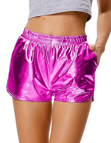 Kate Kasin Halloween Sommer Metallic Shorts Shiny Leggings elastische Taille Shorts (862-5) Large