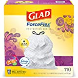 Glad ForceFlex Tall Kitchen Drawstring Trash Bags 13 Gallon, Gain Moonlight Breeze 110 Count (Package May Vary)