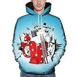 Christmas Swearshirts,CIELLTE Sweats Couples De NoëL Imprimé 3D Blouse À Capuche À Manches Longues 3D à Capuche De NoëL Hommes Femmes Sweat-Shirts Hiver Fantaisie Hoodie avec Poche