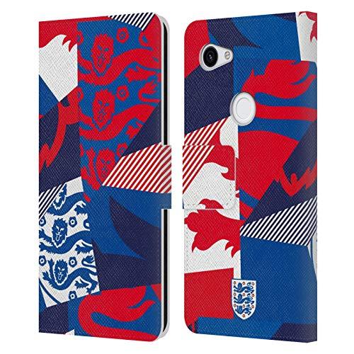 Head Case Designs sous Licence Officielle England National Football Team Trois Lions Coeur Coque en Cuir à Portefeuille Compatible avec Google Pixel 3a