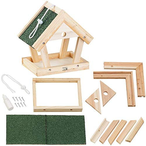 Royal Gardineer Vogelfutterhaus: Vogel-Futterhaus-Bausatz aus Echtholz, zum Aufhängen, 13-teilig (Bausatz Vogelhaus)