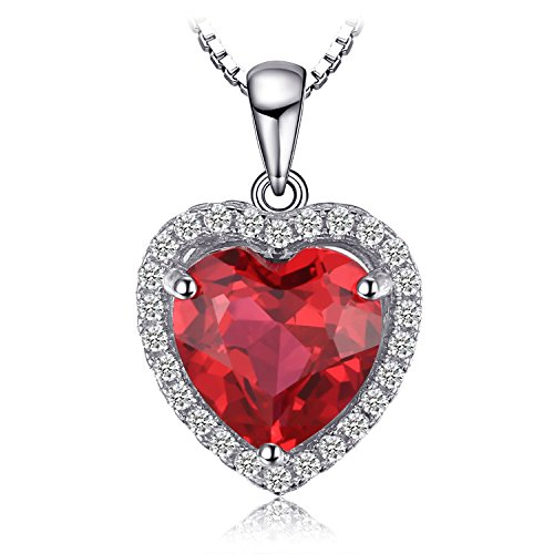 JewelryPalace Cuore Of Ocean 3.9ct Sintetico Rosso Rubino Amore Eterno Halo Pendente Collana 925 Sterling Argento 45cm