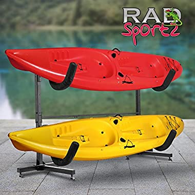 RAD Sportz Indoor Outdoor Freestanding Heavy Duty Two Kayak Storage Kayak or Paddle Board Storage Rack System