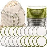 SaiXuan Discos Desmaquillantes Reutilizables (20pcs) Con bolsa de lavandería lavable Hechos en Fibra de Bambú Aptos Para Todo Tipo de Pieles