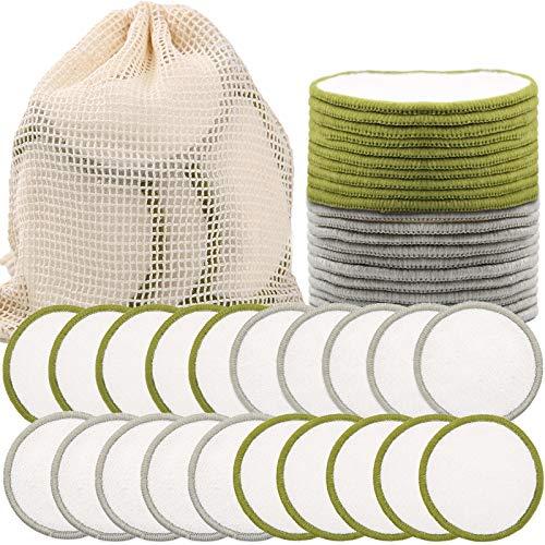 SaiXuan Abschminkpads Waschbar (20 Stück) mit waschbarem Wäschesack Makeup Entferner Pads,Wiederverwendbare Wattepads für alle Hauttypen