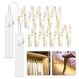 Tira Luz Cuerda, 2M Tira de Luces LED con Sensor de Movimiento, Luz Armario, Luz LED Nocturna Pilas, Decoración Iluminación para...