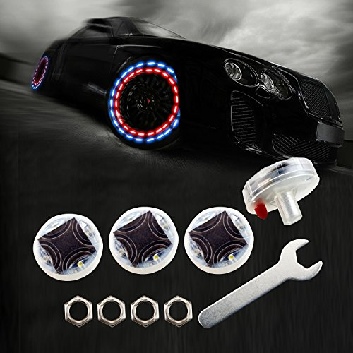 LEADTOPS Car Wheel Tire Light LED, 4-Pack Solar Energy Motion Sensors Decorative Flashing Colorful Gas Nozzle Schrader Valve Cap Lamp Bulb Waterproof for Car Auto Motorcycles Bicycles