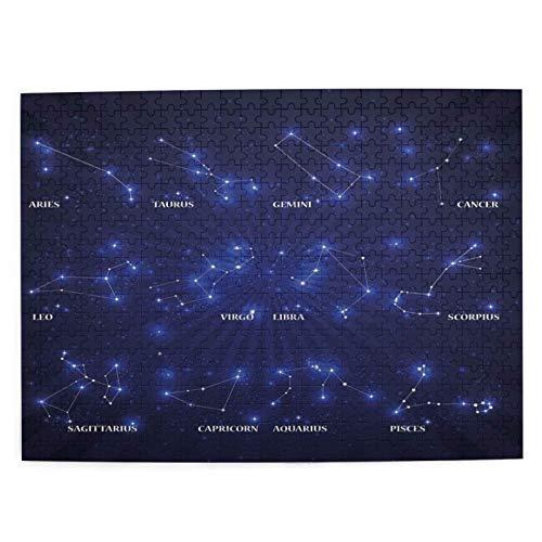 Starodec Adulto 500 Piezas Juego de Rompecabezas Exhibición Vibrante de ensueño de los Signos del zodíaco Estrellas Astrología Juguetes Educativos para Niños Decoración hogareña