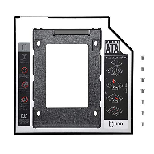 DEEPFOX Hard Drive Caddy Tray 9.5mm SATA to SATA 2nd HDD Enclosure [for SSD and HDD] Hard Disk Case Mounting Bracket Compatible with HP DELL ACER BenQ Asus Lenovo Laptop CD/DVD-ROM Drive Slot