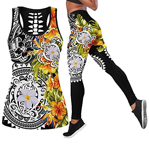 Tatuaje de Tortuga e Hibisco Leggings Estampados en 3D y Camiseta sin Mangas - Leggings Ajustados elásticos sexys para Mujer Legging Tank Top M