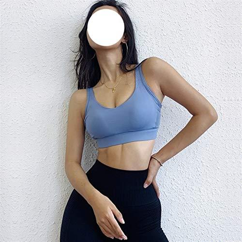 GFDFD. Frauen Push-up Yoga BH Turnhalle Sport Push-up Workout Bodybuilding Laufen Atmungsaktive Sportswear-Kreuz-Back-Crop Top Fitness (Color : Blue, Size : S Code)