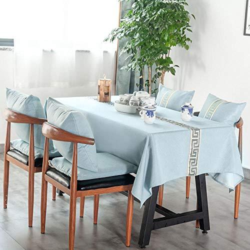 WJPL - Manteles de mesa rectangulares, antimanchas, mezcla de algodón y lino, para restauración de aceites, fácil de limpiar, para diversas ocasiones, LC-107