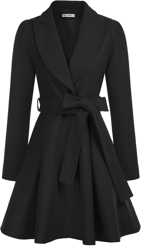 Women's Notch Lapel Long Sleeve a Line Pea Coat with Self Tie Belt
