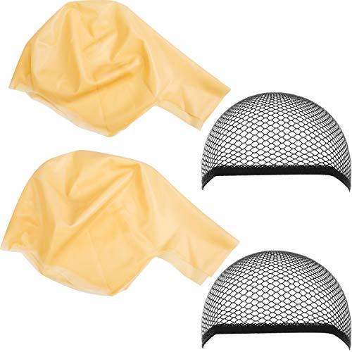 Gorros Calvos Cabeza Calva de Látex de Maquillaje Gorro de Peluca Accesorios de Disfraz de Maquillaje para Adultos y Niños, 4 Piezas
