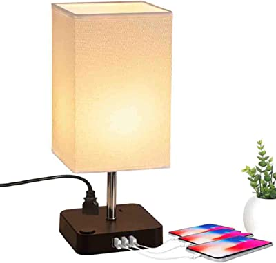 Amazon.com: Moderna lámpara de mesa de madera, puerto USB ...