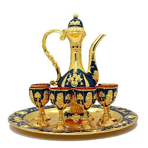 advancethy - Set di decanter e bicchieri per vino, in metallo, con fiaschetta e fiaschetta in stile russo, decorazione per la casa, regalo di nozze in metallo