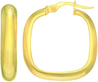 14kt Yellow Gold 4.8x22.3mm Shiny Domed Square Type Hoop Earring