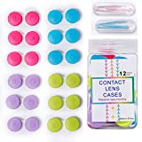 Eyes Contact Lens Case Colored 12 Pack Lenses Container Box Tweezers and Applicator Storage Kit for Eyes Mini Size(Pink,Blue,Yellow,Purple)