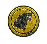 Ohrong Parche bordado de House Stark Direwolf de Juego de Tronos con emblema de moral redondo con gancho y bucle para vaqueros, gorras, chaquetas y gorras