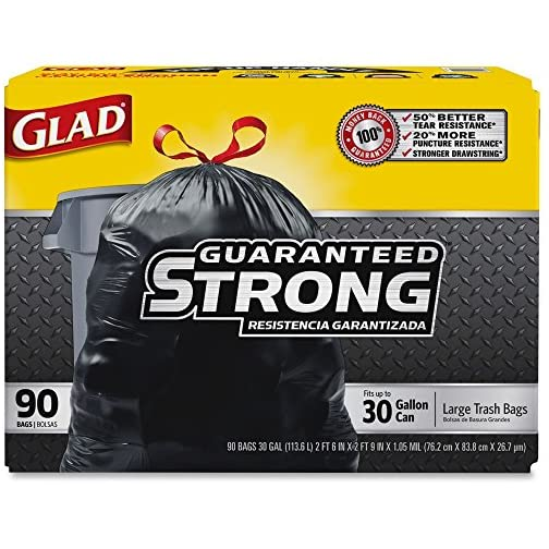 "GLAD 70313 Drawstring Outdoor 30-Gallon Trash Bags, 1.05 Mil, 30"" x 33"", Black (Pack of 90) 3"