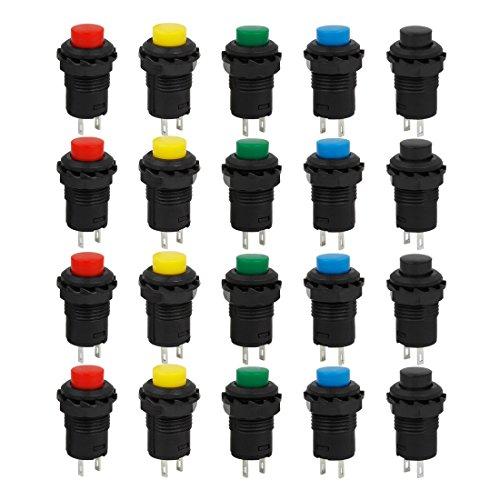 Larcele 20x 12mm Interruttore a Pulsante Non-Momentaneo On/Off in Plastica DIY Autobloccante Interruttore ANKG-03 (5 Colori)