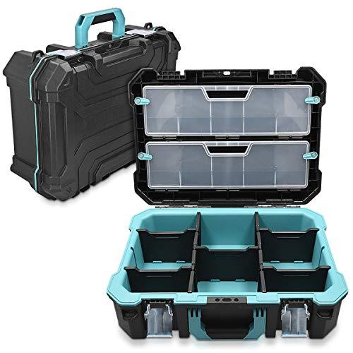 Navaris Caja de herramientas vacía - 52.5 x 38.9 x 19 CM - Maletín con 2 cerraduras varios compartimentos y 2 cajas - Estuche sin herramientas